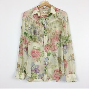 Denim & Supply Sheer Floral Button Down Blouse